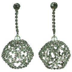 Mod Pave Heart Globe Earrings