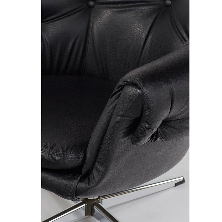 Overman Style Mod Pod Lounge Chair Set in Black Tufted Vinyl, Four Star Bases 1