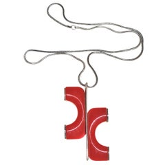Mod Red Lucite Necklace/ Cardin Style