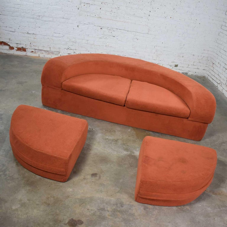 Fun and funky mod round foam sleeper sofa with ottomans in its original orange fuzzy fabric by Spherical Furniture of Boone, North Carolina. It is in wonderful vintage condition. It has been professionally cleaned and still wears its original