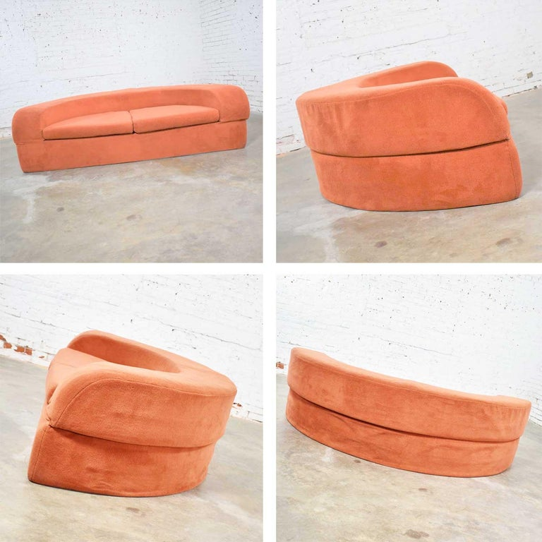 Modern Mod Round Sleeper Sofa with Ottomans in Orange Fuzzy Fabric by Spherical Furn For Sale
