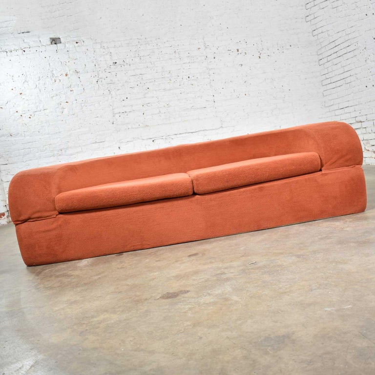 20th Century Mod Round Sleeper Sofa with Ottomans in Orange Fuzzy Fabric by Spherical Furn For Sale
