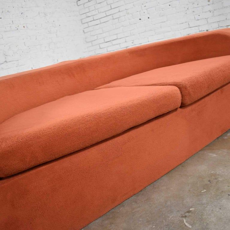 Mod Round Sleeper Sofa with Ottomans in Orange Fuzzy Fabric by Spherical Furn For Sale 1