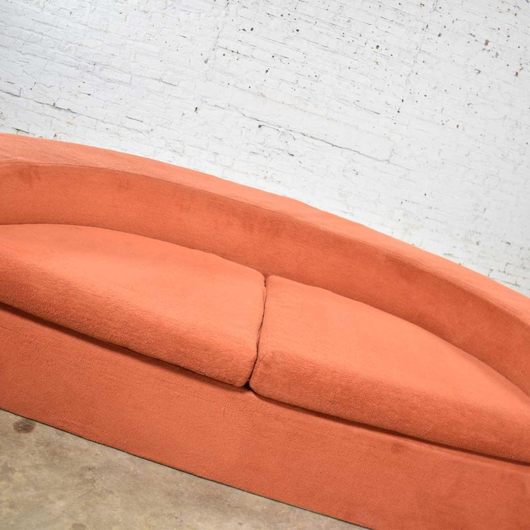 Mod Round Sleeper Sofa with Ottomans in Orange Fuzzy Fabric by Spherical Furn For Sale 2