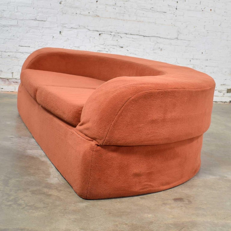 Mod Round Sleeper Sofa with Ottomans in Orange Fuzzy Fabric by Spherical Furn For Sale 3