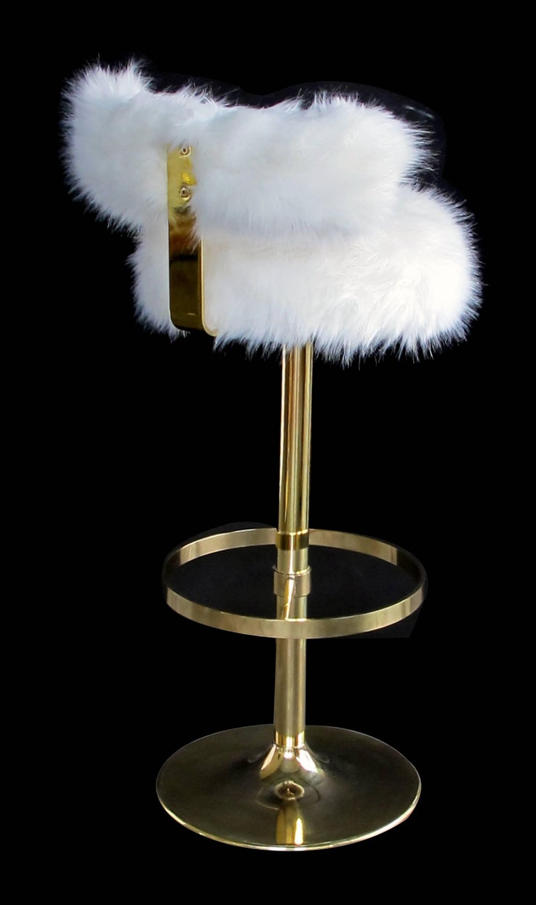 Modern Mod Set of Three Brass 1970s Swivel Barstools with Fur Upholstery For Sale