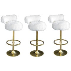 Mod Set of Three Brass 1970s Swivel Barstools with Fur Upholstery