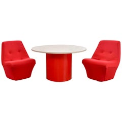 Mod Style MCM Round Table & 2 Chairs by Founders Furniture in Red & White