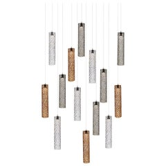 Mod Tube 14, Blown Glass Pendant Dining Room Chandelier by Shakuff