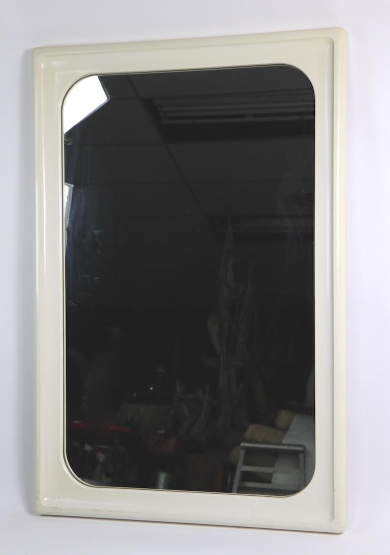 Mod White Lacquer Framed Mirror For Sale 5