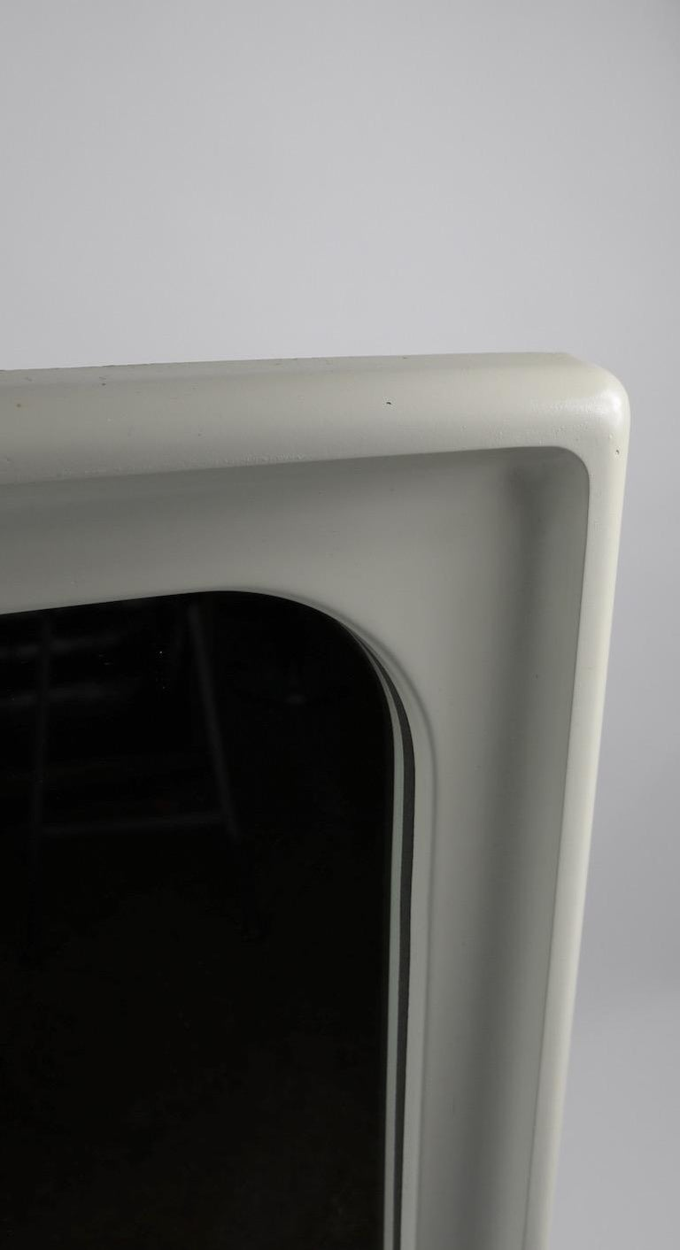 Mid-Century Modern Mod White Lacquer Framed Mirror For Sale