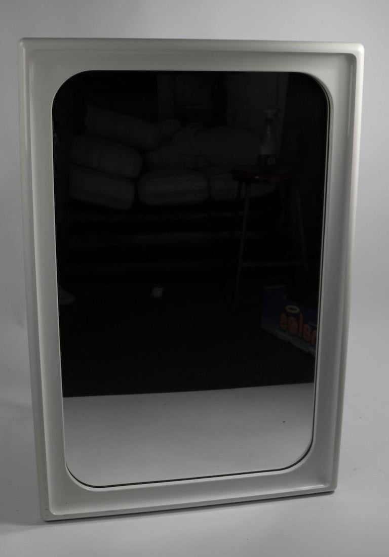 Lacquered Mod White Lacquer Framed Mirror For Sale