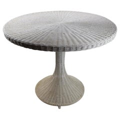Mod Wicker Dinette Cafe Dining Table with Pedestal Base