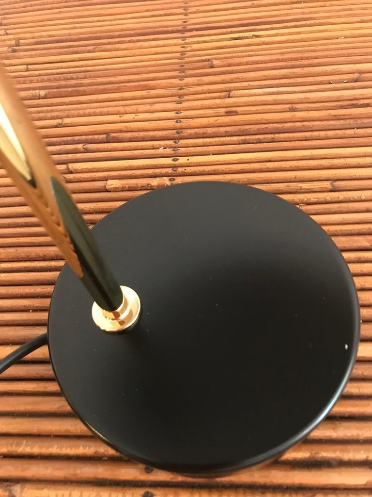 Brass Model '1013' Table / Desk Lamp by Pierre Disderot 'Red/White/Yellow/Black' 2 For Sale