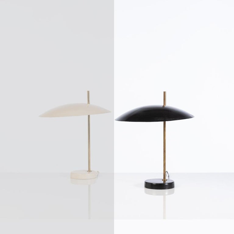 Brass Model '1013' Table / Desk Lamp by Pierre Disderot 'White/Yellow/Black/Red' 2 For Sale