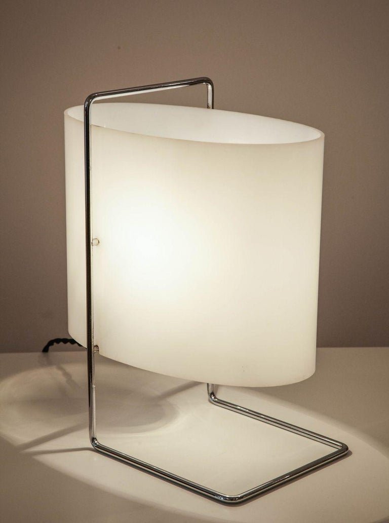 Chrome Model 1021 Pair of Table/Bedside Lamps by Roger Fatus for Disderot For Sale