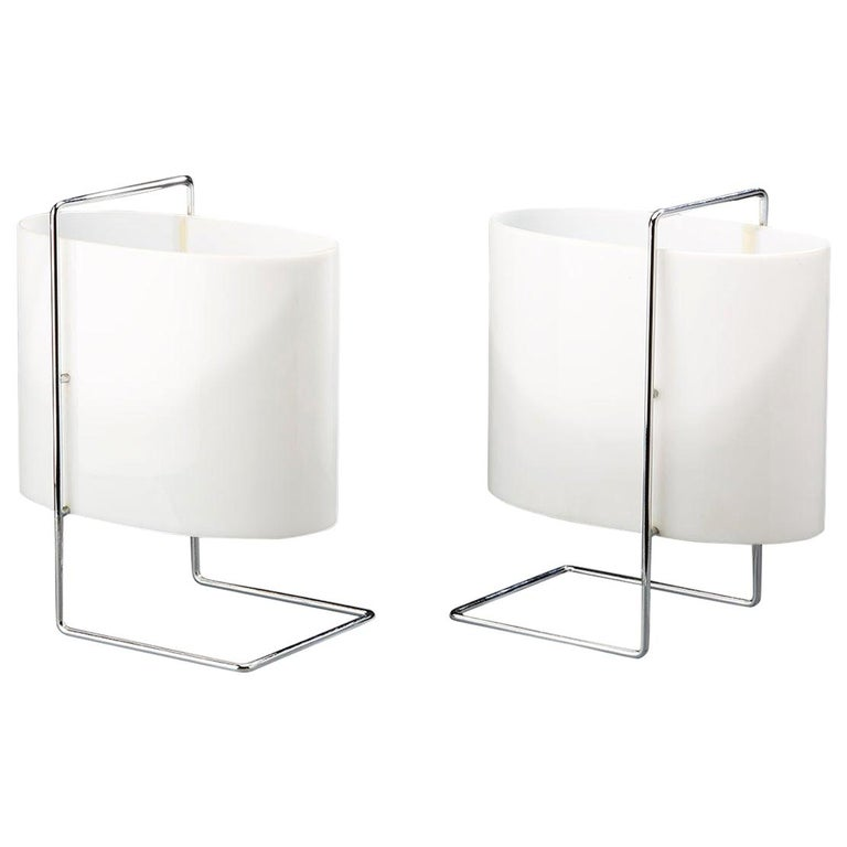 Model 1021 Pair of Table/Bedside Lamps by Roger Fatus for Disderot For Sale