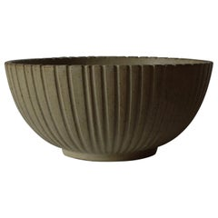 """Model 123"" Ribbed Bowl by Arne Bang with Signature, 1950s"