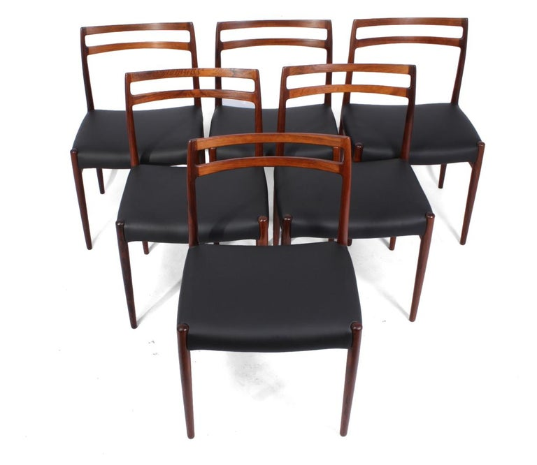 Model 146 rosewood dining chairs by Alf Aarseth A set of 6 model 146 dining chairs designed by Alf Arseth and produced in Norway by Gustav Bahus in the 1960's they are solid rosewood with no loose joints or breaks the seats are brand new full