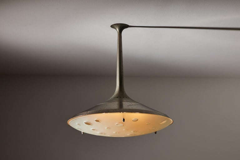 Model 2054 ceiling light by Max Ingrand for Fontana Arte. Designed and manufactured in Italy, 1956. Nickel-plated brass, curved, satin and ground crystal. Rewired for U.S. standards. We recommend six E27 25w maximum bulbs. Bulbs provided as a one
