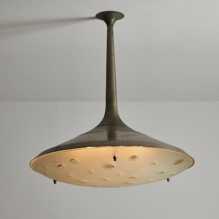 Plated Model 2054 Ceiling Light by Max Ingrand for Fontana Arte For Sale