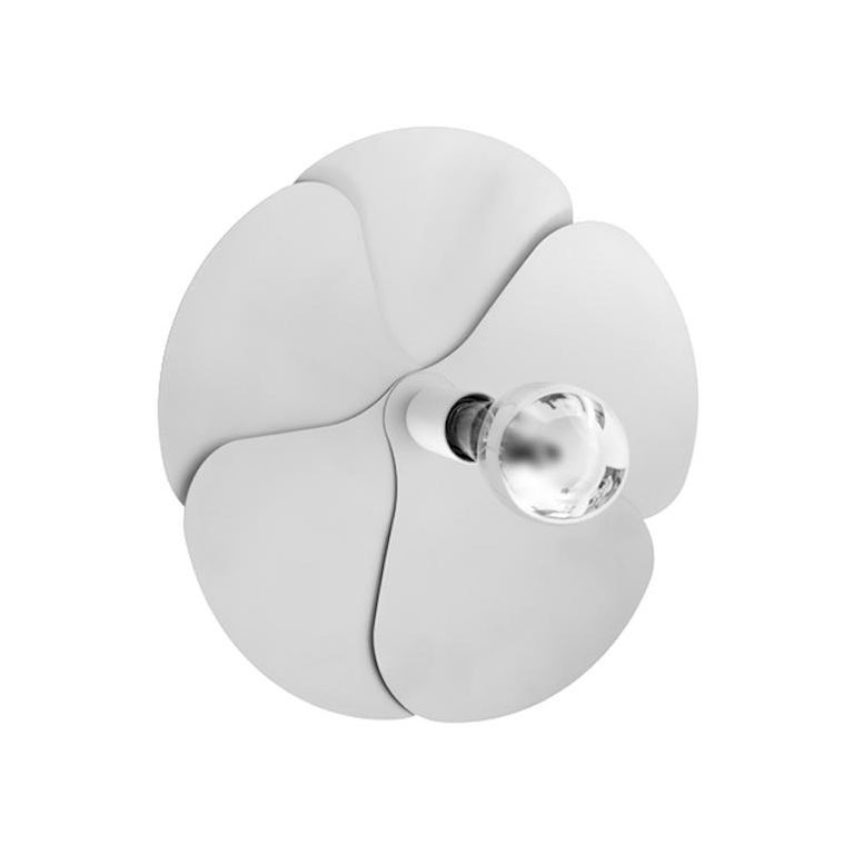 Model 2093-A wall light by Oliver Mourgue for Disderot. This is a current production, designed and manufactured in France. In 1967, Olivier Mourgue invented a flower shaped lighting device, made of aluminum petals fixed on two chromed metal wires,