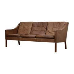 Model 2209 Leather Three-Seat by Børge Mogensen for Fredericia, Denmark, 1960s