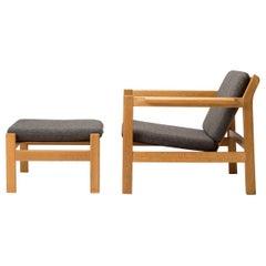 Model 227 Armchair & 228 Footstool by Børge Mogensen for Fredericia, Denmark