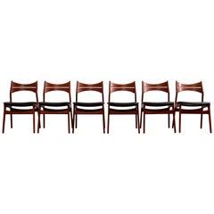 Model 310 Teak Dining Chairs by Erik Buck for Chr. Christiansen, Set of Four