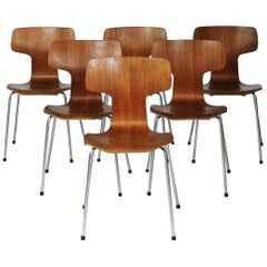Model 3103 Teak Dining Chairs by Arne Jacobsen for Fritz Hansen, 1960s
