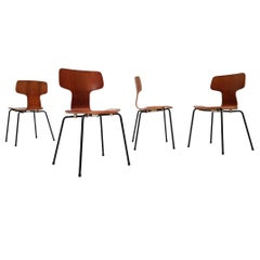 Model 3103 Teak Hammer Chairs by Arne Jacobsen for Fritz Hansen, 1955