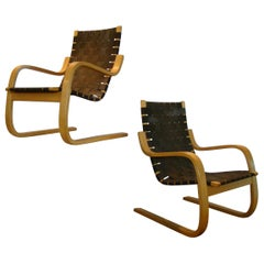 Model #406 Armchairs Pair by Alvar Aalto, Made in Finland for ICF