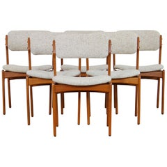 Model 49 Teak & Wool Dining Chairs by Erik Buch for O.D. Møbler, 1960s, Set of 6