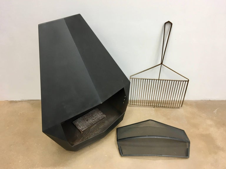 Model 5005 Mid-Century Modern Steel Fireplace from Don-Bar Design, 1970s For Sale 11