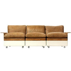 Model 620 Fiberglass and Leather Three-Seat Sofa by Dieter Rams
