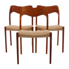Model 71 Teak Dining Chair by N.O. Moller in 1951 with New Woven Seat