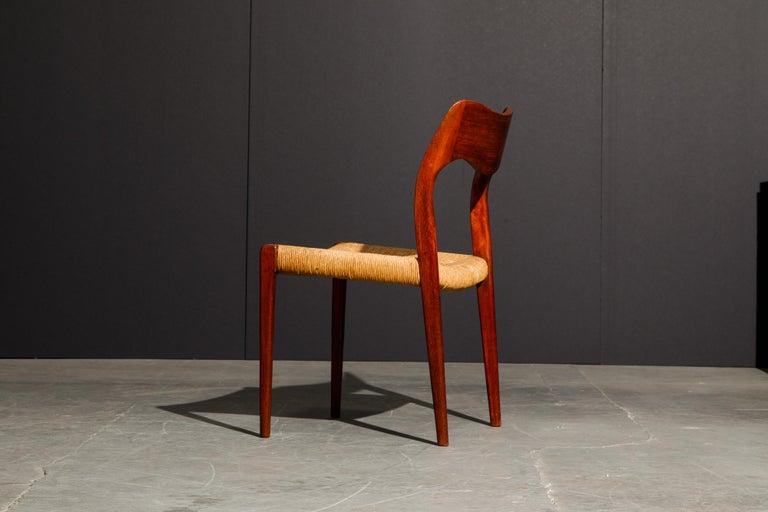 'Model 71' Woven and Teak Side Chair by Niels Otto Møller for J.L. Møller, 1960s For Sale 3