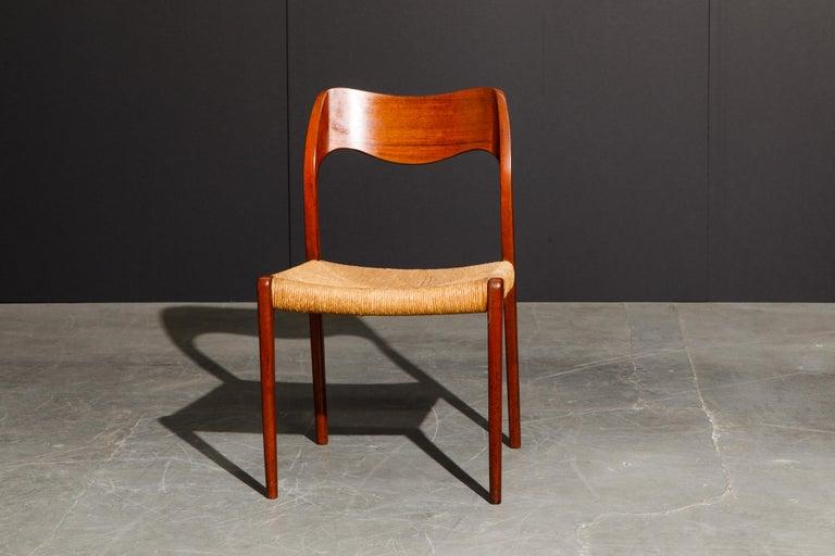 'Model 71' Woven and Teak Side Chair by Niels Otto Møller for J.L. Møller, 1960s For Sale 6