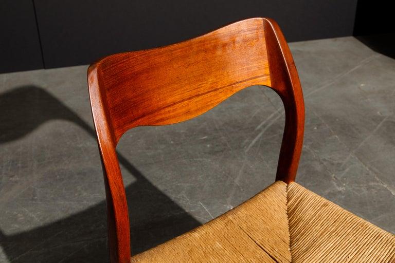 'Model 71' Woven and Teak Side Chair by Niels Otto Møller for J.L. Møller, 1960s For Sale 7
