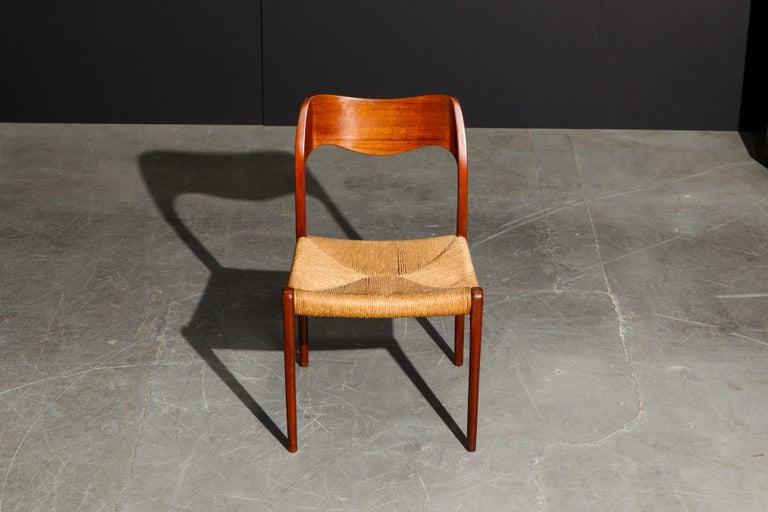 Scandinavian Modern 'Model 71' Woven and Teak Side Chair by Niels Otto Møller for J.L. Møller, 1960s For Sale