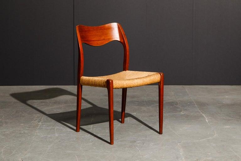 Danish 'Model 71' Woven and Teak Side Chair by Niels Otto Møller for J.L. Møller, 1960s For Sale