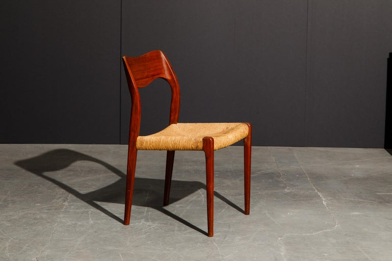 'Model 71' Woven and Teak Side Chair by Niels Otto Møller for J.L. Møller, 1960s In Good Condition For Sale In Los Angeles, CA