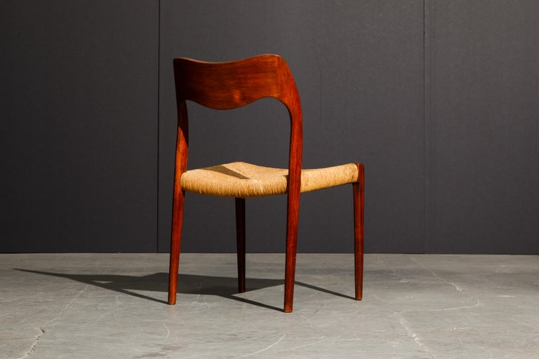 Papercord 'Model 71' Woven and Teak Side Chair by Niels Otto Møller for J.L. Møller, 1960s For Sale
