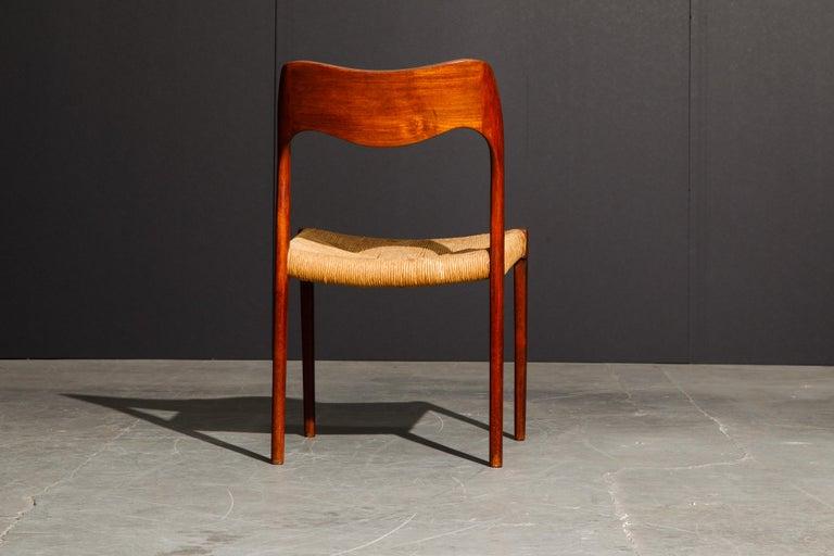 'Model 71' Woven and Teak Side Chair by Niels Otto Møller for J.L. Møller, 1960s For Sale 1