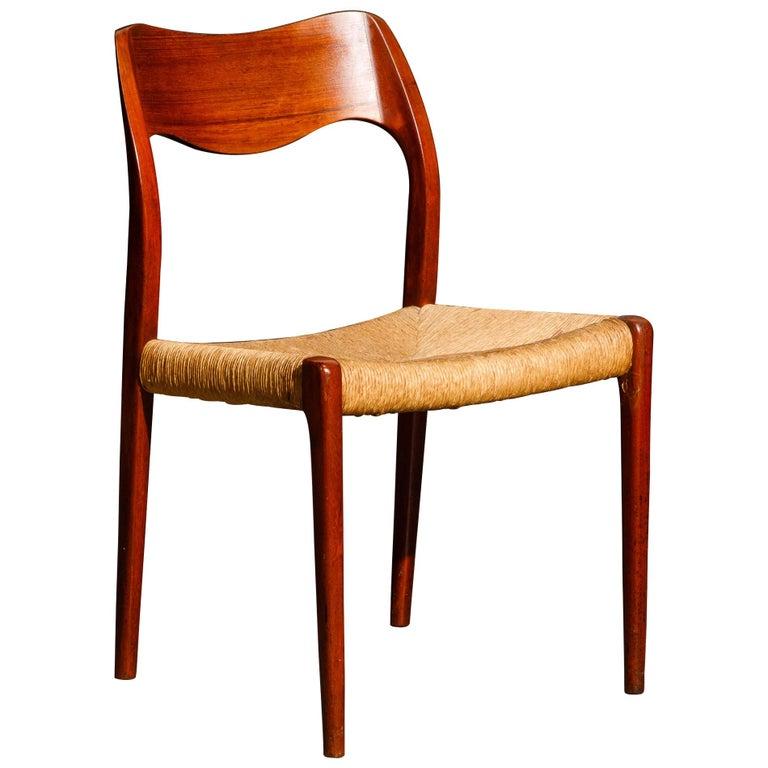 'Model 71' Woven and Teak Side Chair by Niels Otto Møller for J.L. Møller, 1960s For Sale