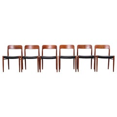 Model 75 Teak Dining Chairs by Niels Otto Møller, Set of 6