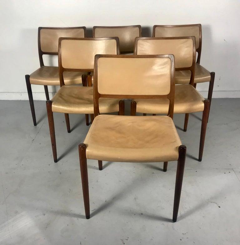 Scandinavian Modern Model 80 Chairs by Niels Otto Møller for J.L.Møllers Mobelfabrik, Denmark, 1950s For Sale
