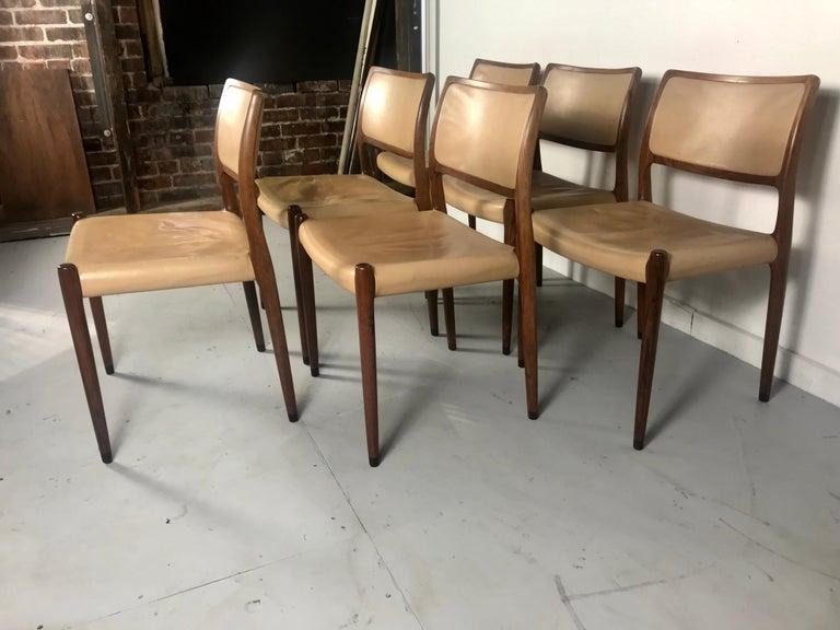 Leather Model 80 Chairs by Niels Otto Møller for J.L.Møllers Mobelfabrik, Denmark, 1950s For Sale