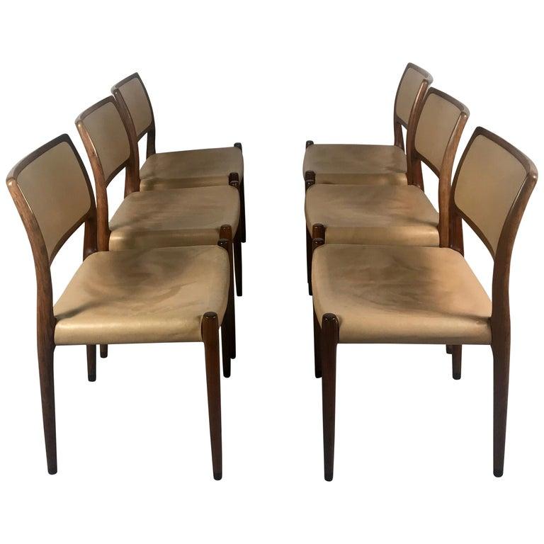 Model 80 Chairs by Niels Otto Møller for J.L.Møllers Mobelfabrik, Denmark, 1950s For Sale