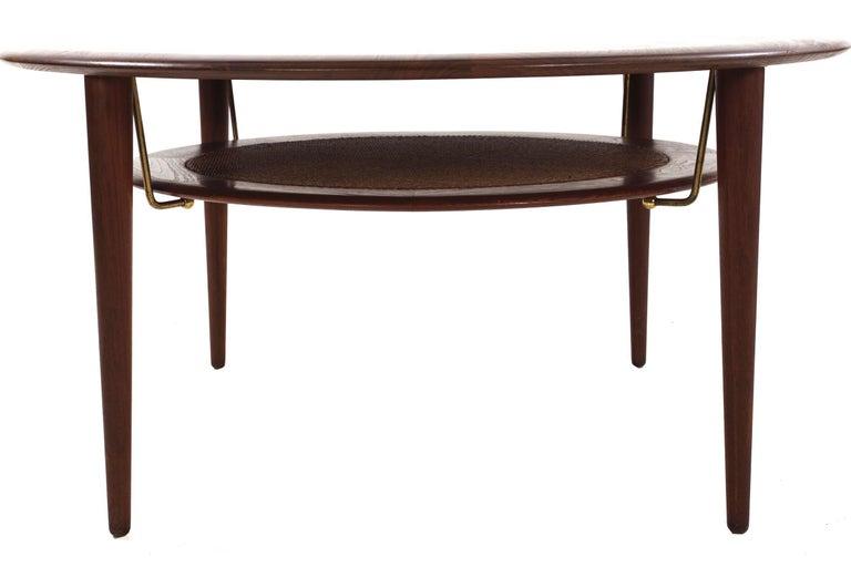 20th Century Model FD 515 Teak and Wicker Coffee Table by Peter Hvidt & Orla Mølgaard Nielsen For Sale
